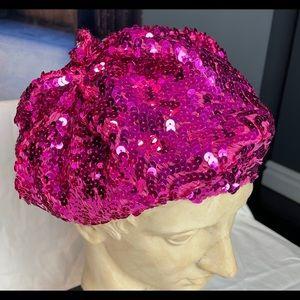 Patricia Field fuchsia sequins beret hat